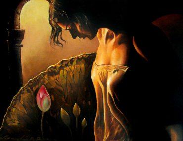 Evening Lamp, Oil Painting, Gautam Partho Roy
