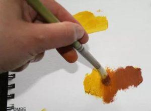 The oil paints blend
