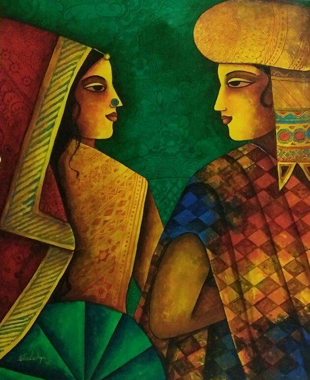 "Figurative Painting with Acrylic on Canvas ""Couple-2"" art by Sonia Kashyap"