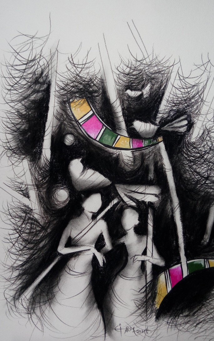 "Figurative Drawing with Charcoal on Paper ""Untitled"" art by Sanjeev Shashwati"