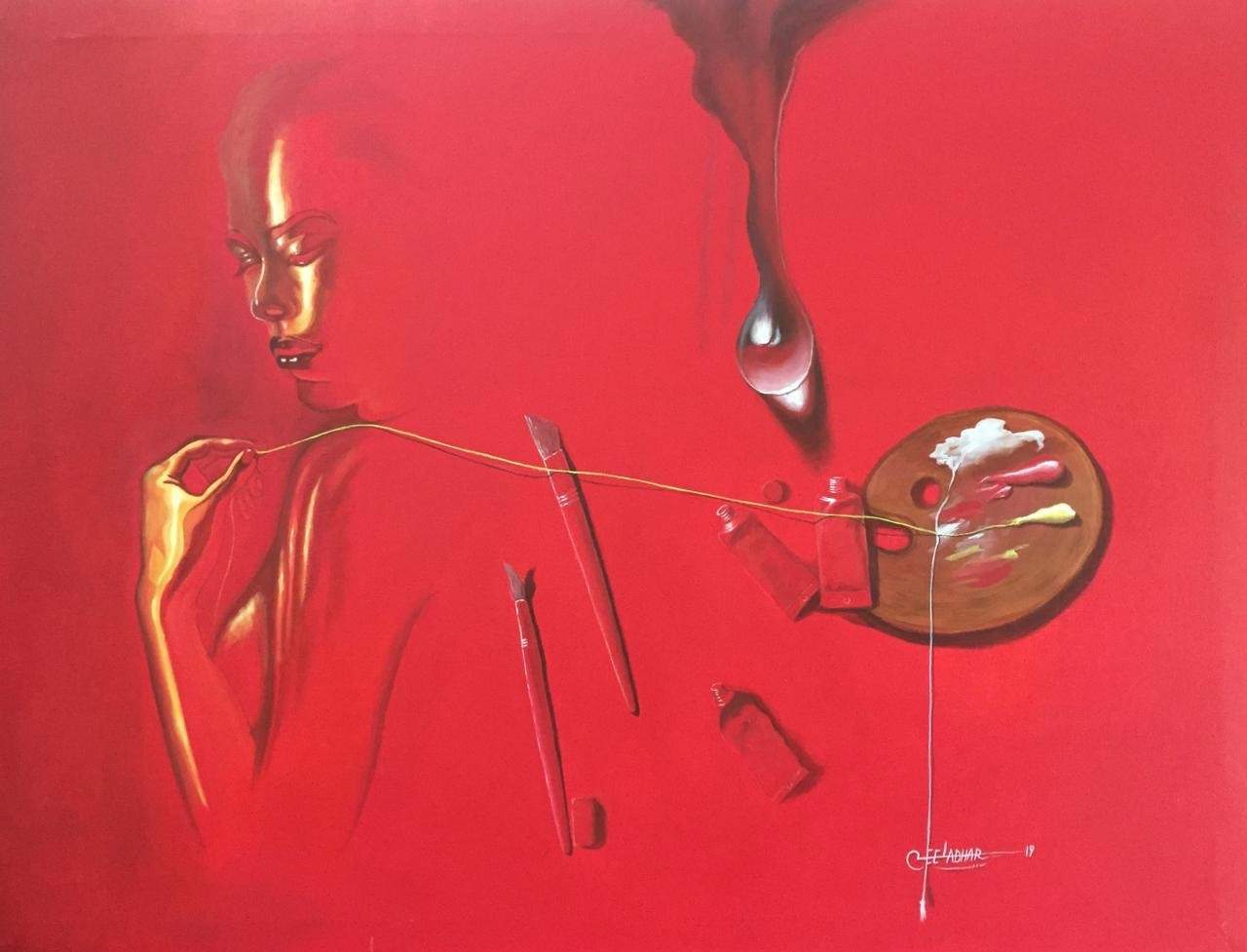 "Surrealism Painting with Acrylic on Canvas ""Music and Art"" art by Leeladhar  Kushwah"