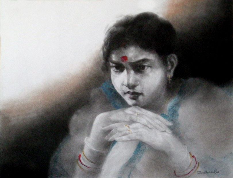 "Semi Realistic Drawing with Soot and Conte on Paper ""Waiting"" art by Tirthankar Biswas"