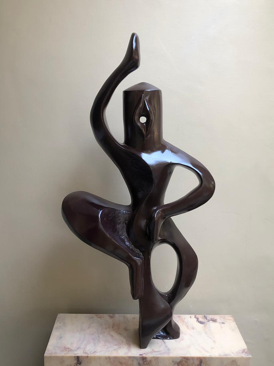 "Semi Figurative Sculpture with Fibre""Dancing of Shiva"" art by Vivek Jaiswal"