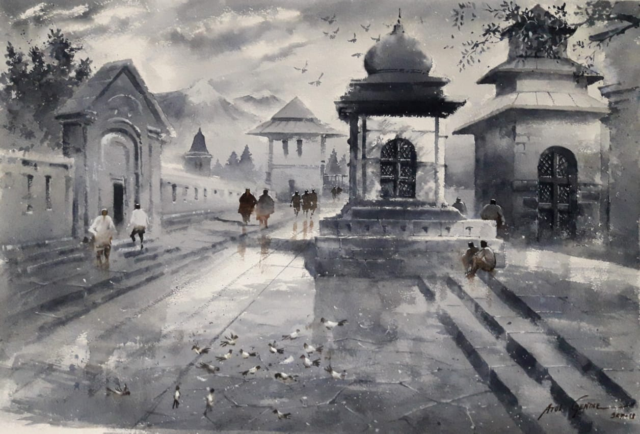 "Realism Painting with Watercolor on Paper ""Beauty of Grey"" art by Atul Kishan Gendle"