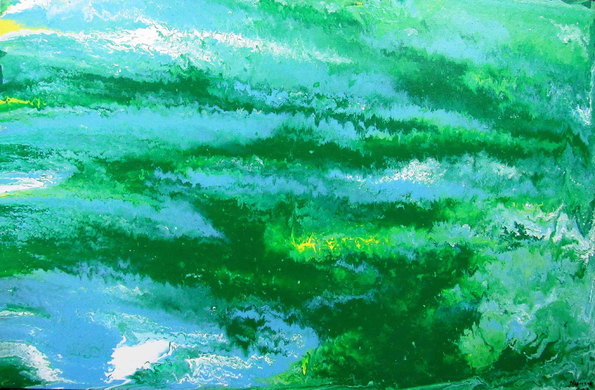 "Abstract Painting with Acrylic on Canvas ""Cloud in sky"" art by Narottam Sinha"
