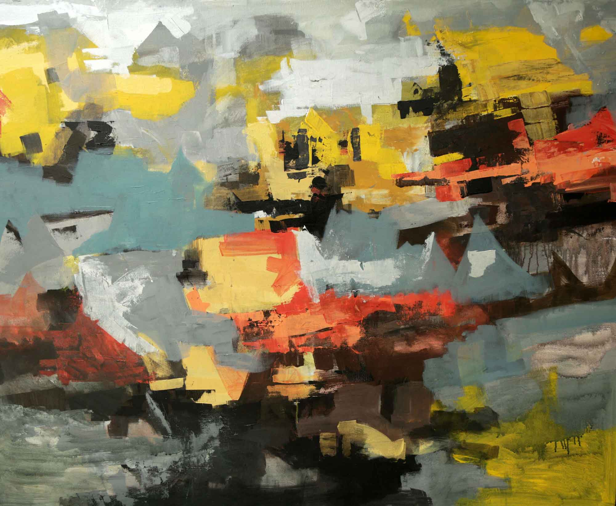 "Abstract Painting with Acrylic on Canvas ""Untitled"" art by Reena Singh"