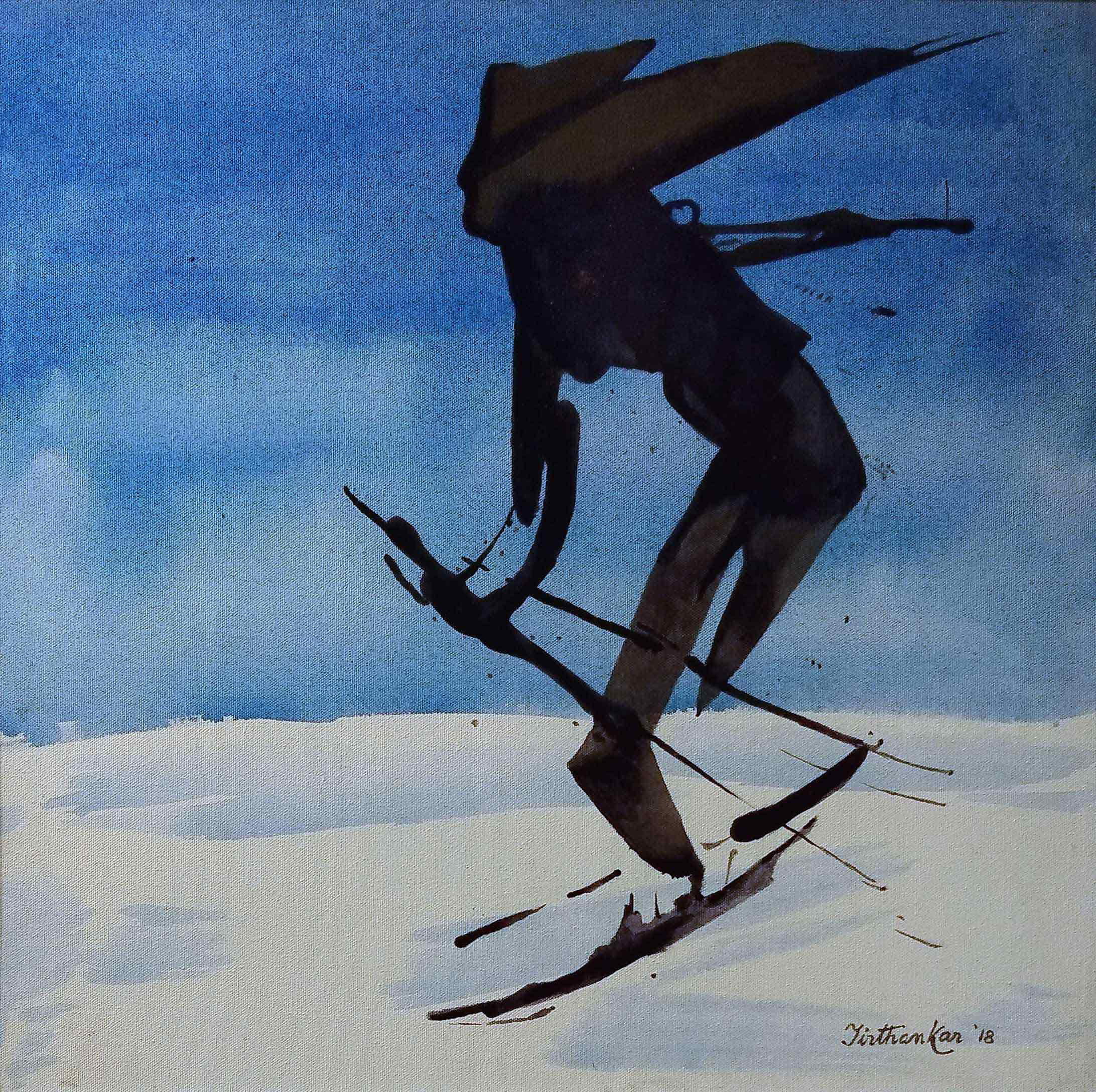 "Figurative Painting with Acrylic on Canvas ""Skiing"" art by Tirthankar Biswas"