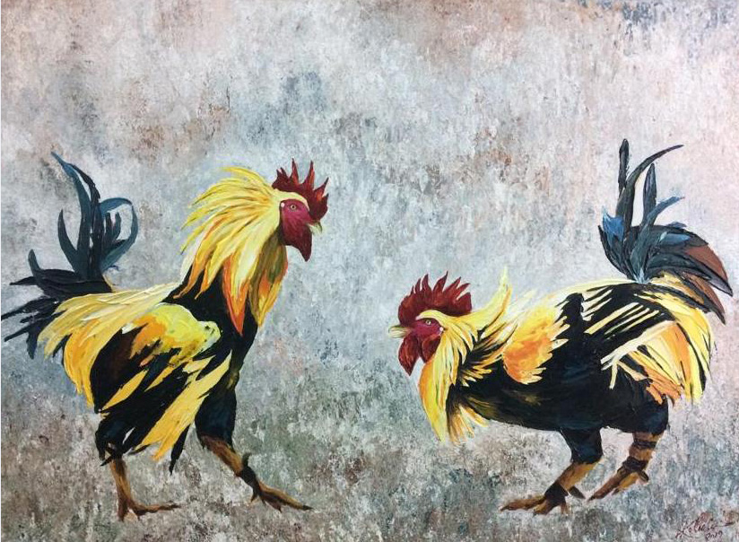 "Realism Painting with Acrylic on Canvas ""Indian Rooster-4"" art by Kolusu"
