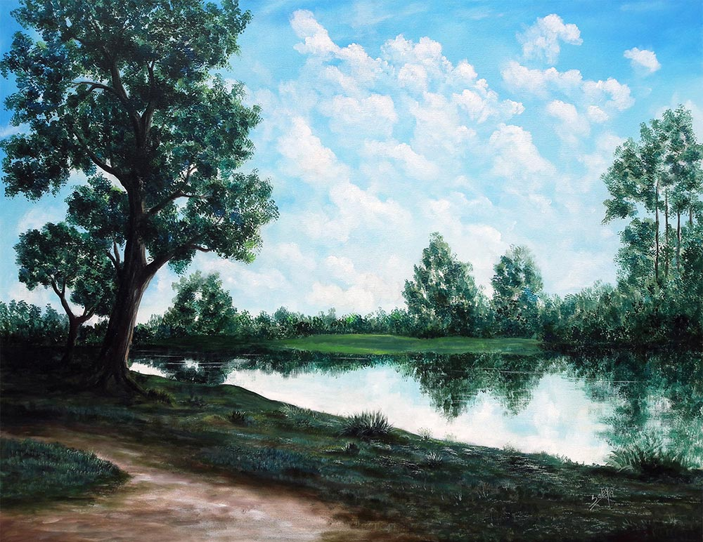 "Realism Painting with Acrylic on Canvas ""Tranquility"" art by Sebi Augustian"
