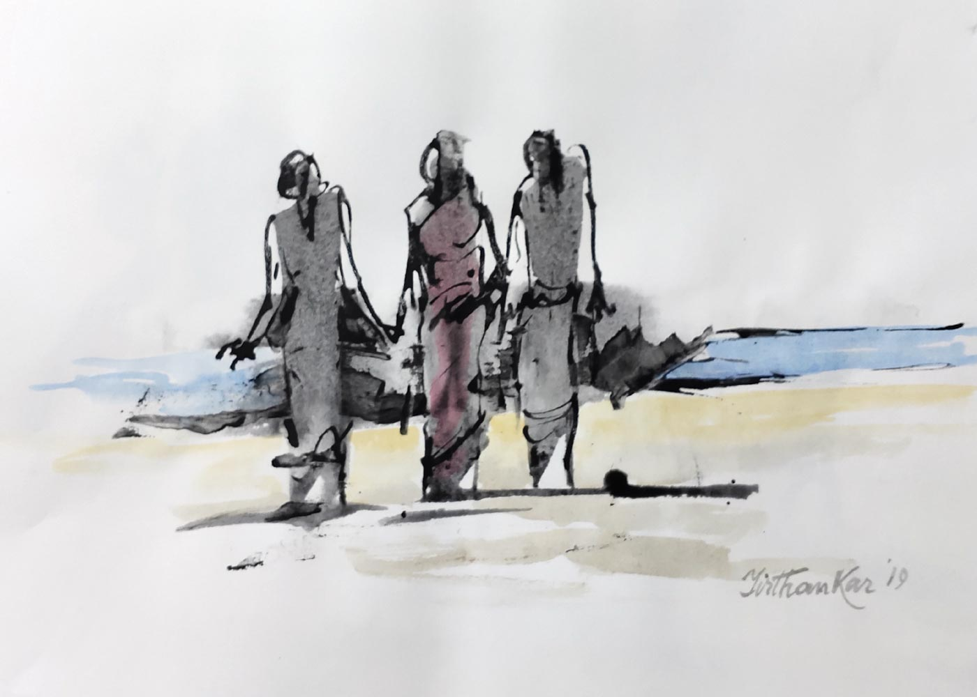 "Semi Figurative Painting with Ink on Paper ""Untitled"" art by Tirthankar Biswas"