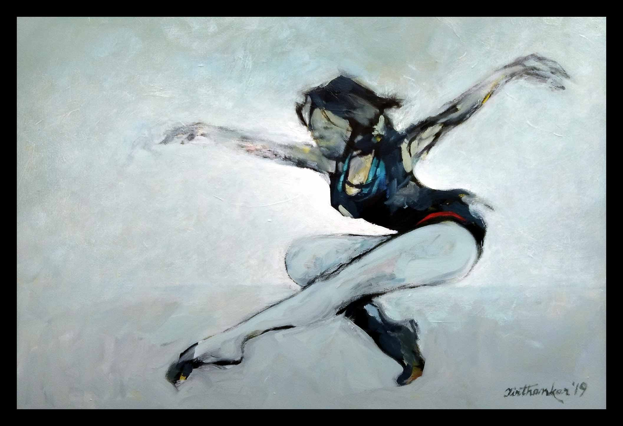 "Semi Figurative Painting with Oil on Canvas ""Gymnast"" art by Tirthankar Biswas"