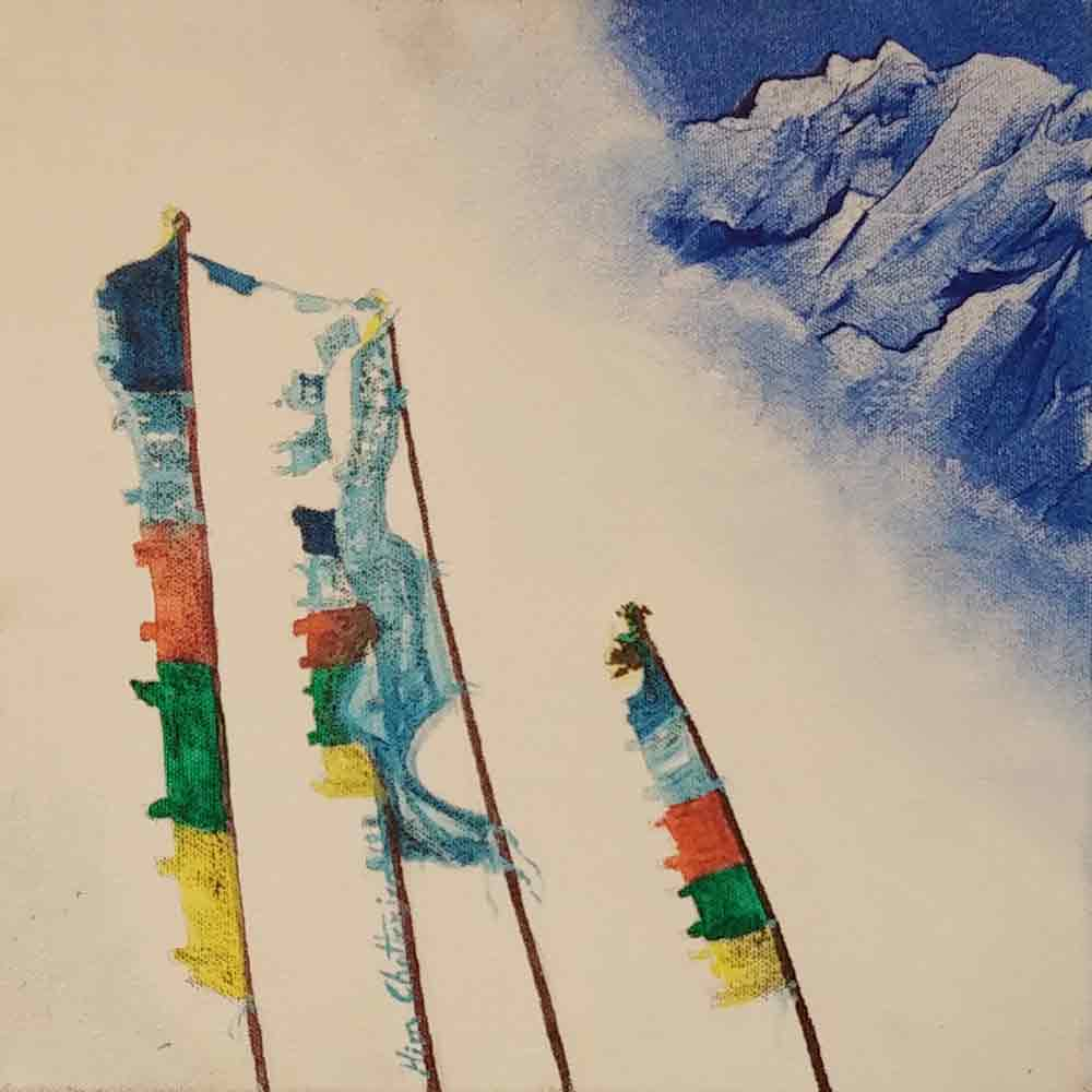 "Semi Realistic Painting with Acrylic on Canvas ""Himalaya-1"" art by Him Chatterjee"