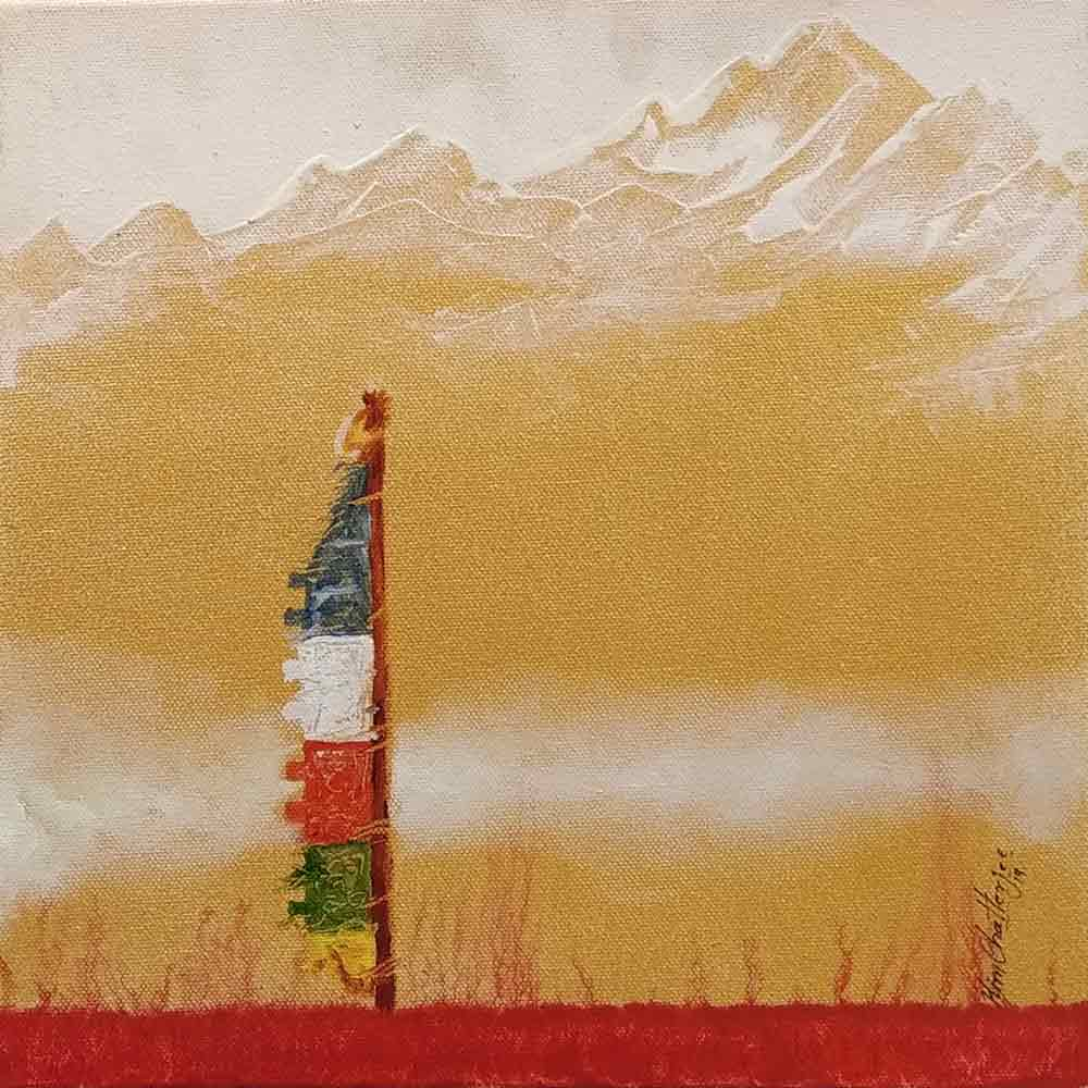 "Semi Realistic Painting with Acrylic on Canvas ""Himalaya-2"" art by Him Chatterjee"
