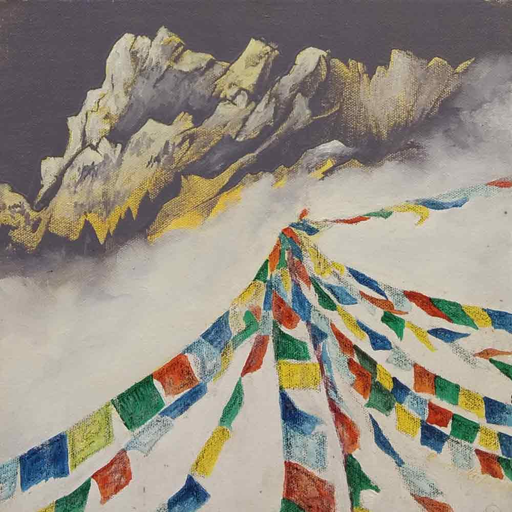 "Semi Realistic Painting with Acrylic on Canvas ""Himalaya-4"" art by Him Chatterjee"