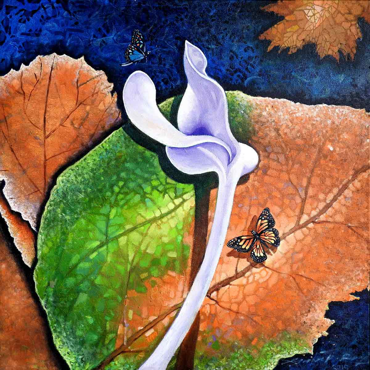 "Conceptual Painting with Oil on Canvas ""Essence of Leaves-3"" art by Gautam Partho Roy"