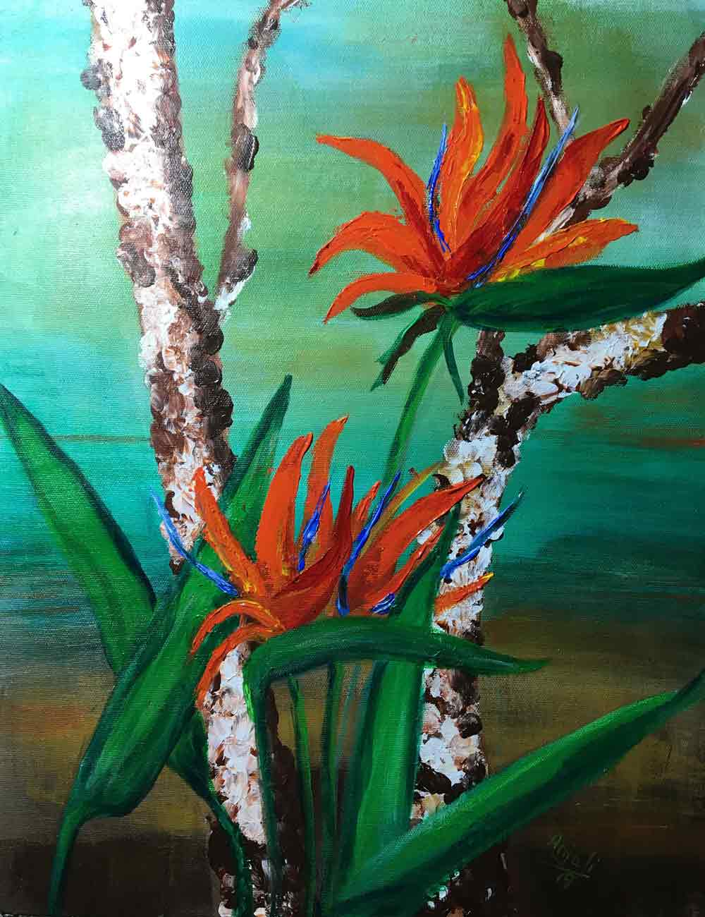 "Semi Realistic Painting with Acrylic on Canvas ""Birds of Paradise"" art by Anjali Mittal"
