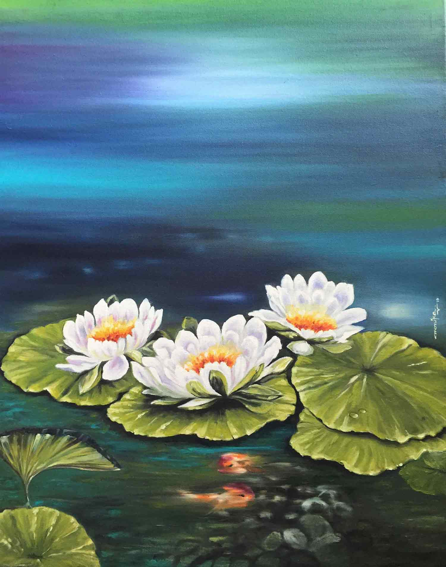 "Semi Realistic Painting with Oil on Canvas ""Beauty of Lotus"" art by Monika Vishwakarma"