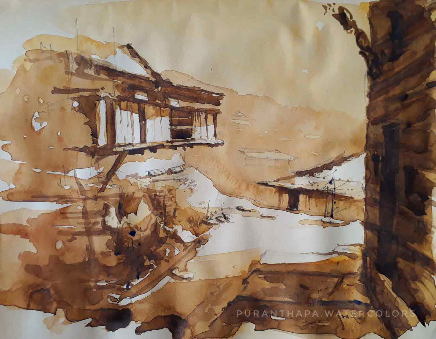 "Semi Realistic Painting with Watercolor on Paper ""Himachal House - 4"" art by Puran Thapa"
