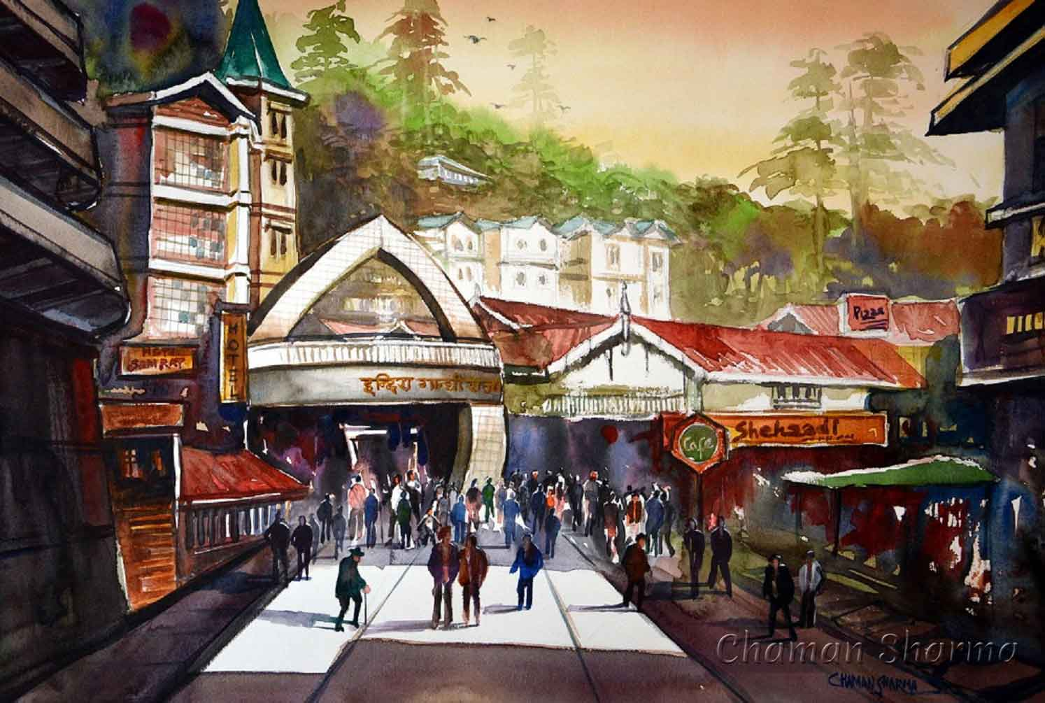 "Semi Realistic Painting with Watercolor on Paper ""Sports Complex, The Mall Shimla"" art by Chaman  Sharma"
