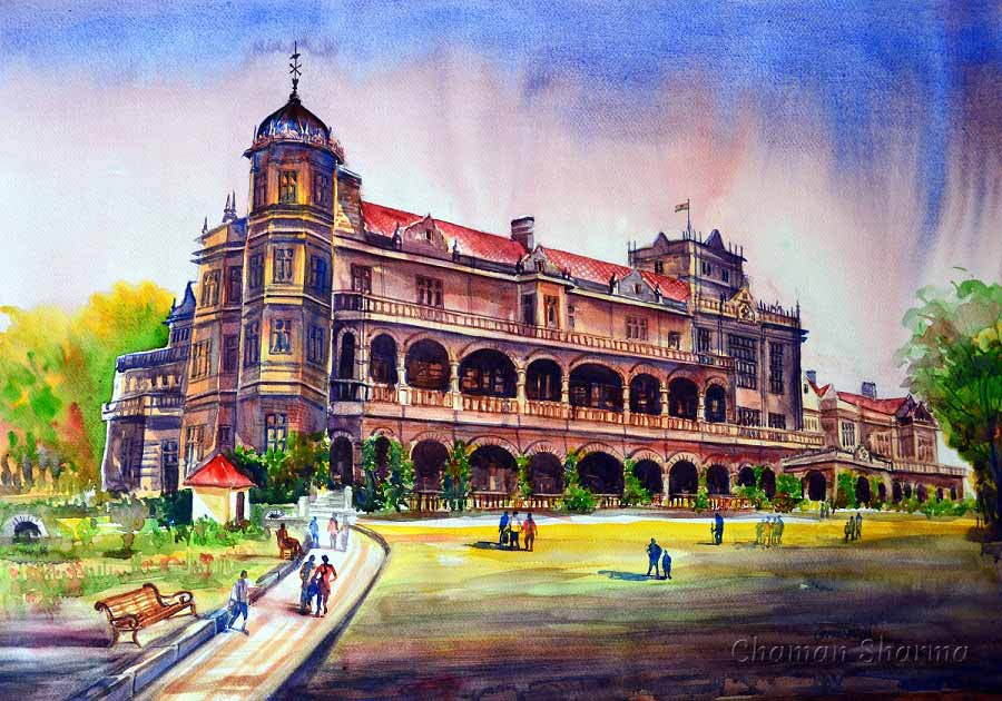 "Semi Realistic Painting with Watercolor on Paper ""Indian Institute of Advanced Study"" art by Chaman  Sharma"