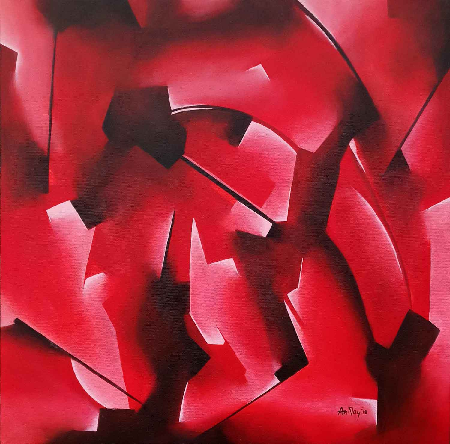 "Abstract Painting with Acrylic on Canvas ""Journey Within V"" art by Neeraj  Jangra"
