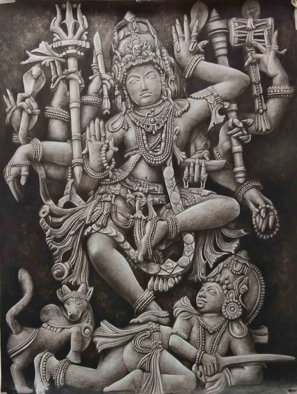 "Realism Drawing with Charcoal on Paper ""Natraj"" art by Pinki Saini"
