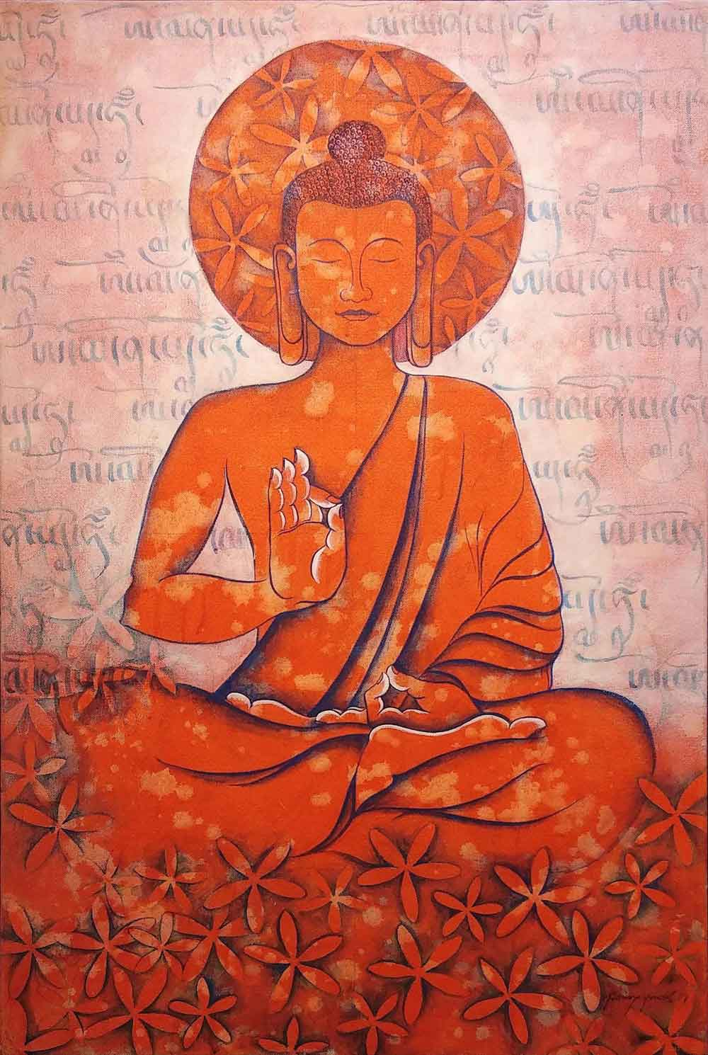 "Figurative Painting with Acrylic on Canvas ""Buddha-1"" art by Tsering Youdol"