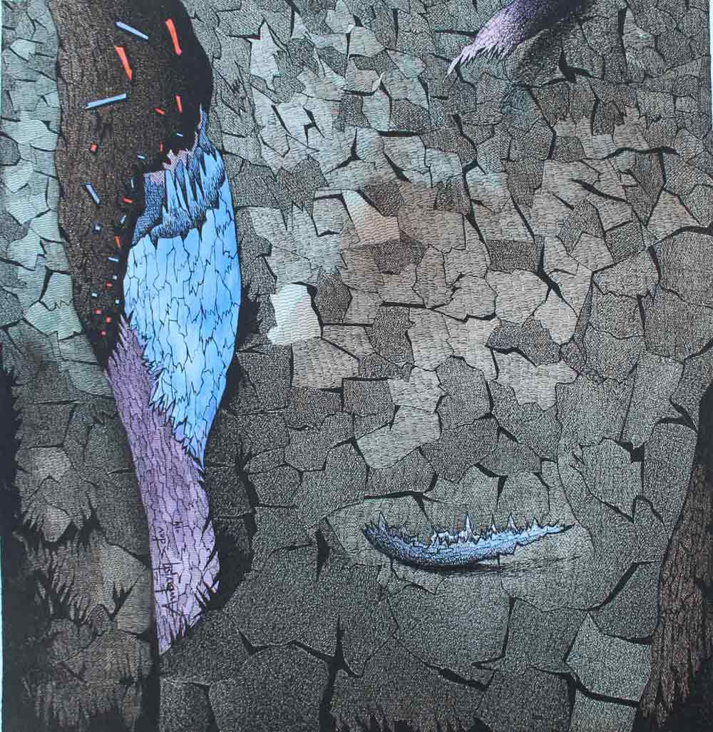 "Contemporary Painting with Mixed Media on Paper ""Bark of Nature 5"" art by Ambrish Dev"