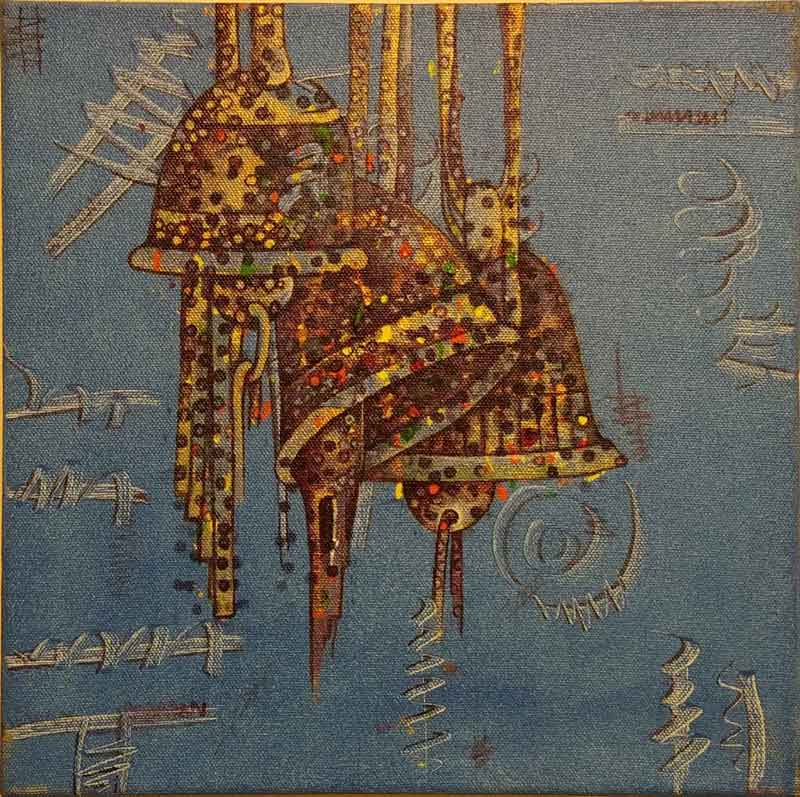 "Contemporary Painting with Acrylic on Canvas ""Bells"" art by Bhader Singh"
