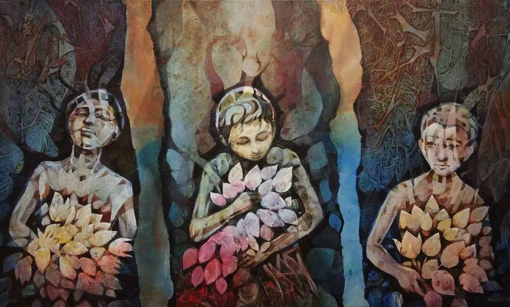 "Figurative Painting with Acrylic on Canvas ""Three friends"" art by Bhaskar Singha"