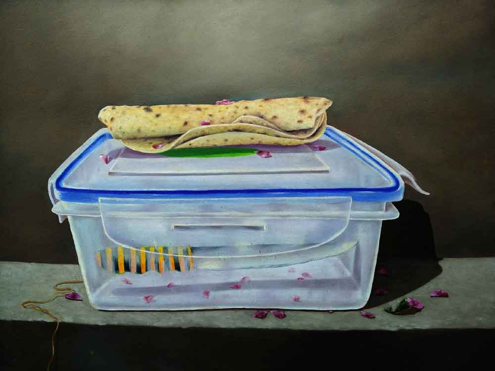 "Realism Painting with Oil on Canvas ""Lunch Box"" art by Sanjay Kumar Raj"