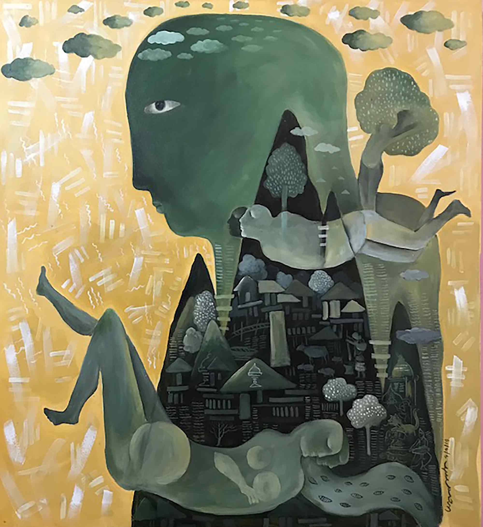 "Surrealism Painting with Acrylic on Canvas ""Day Dreaming"" art by Anup Sarma"