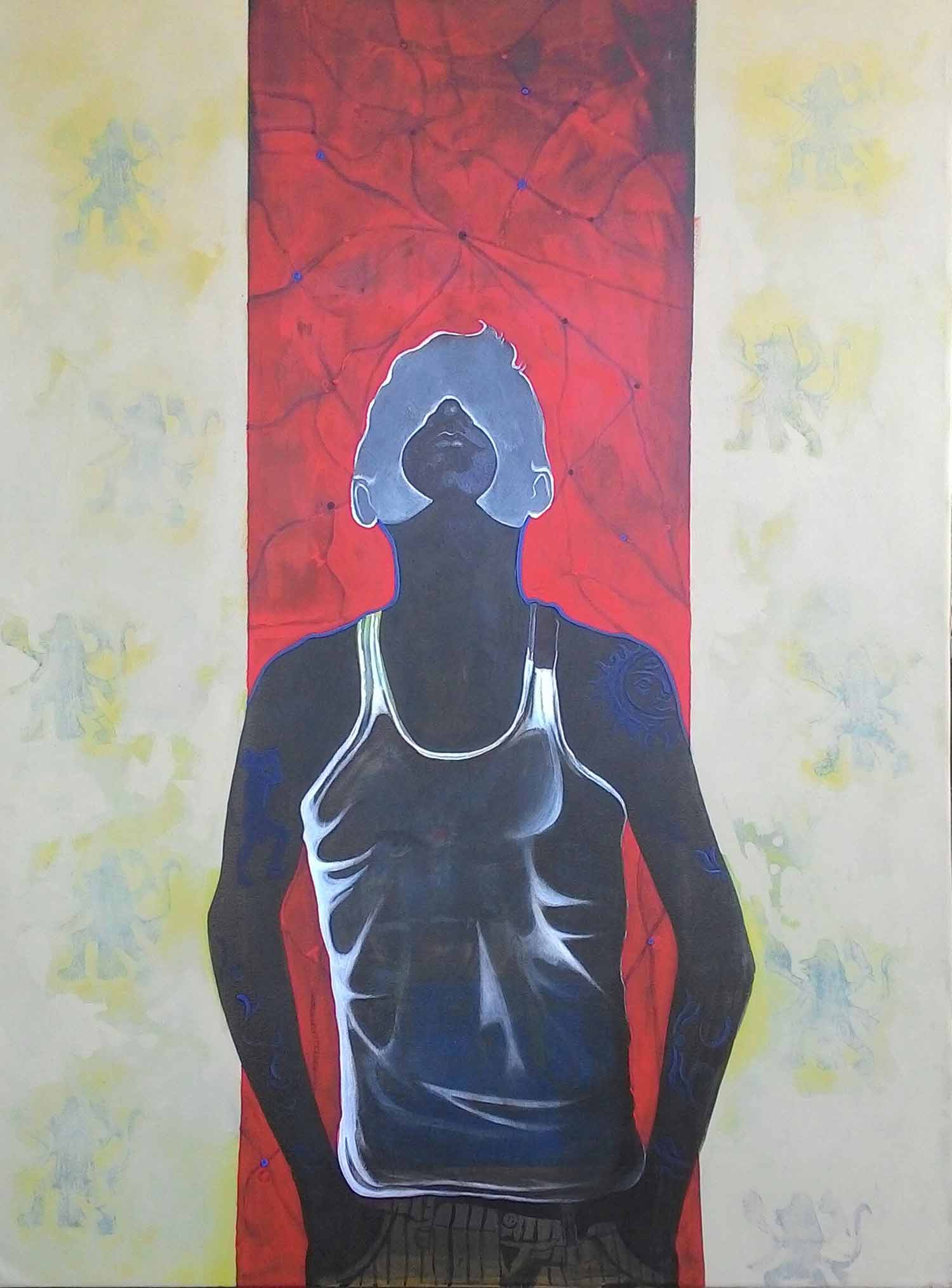 "Figurative Painting with Acrylic on Canvas ""Aid"" art by Chaitanya Ingle"