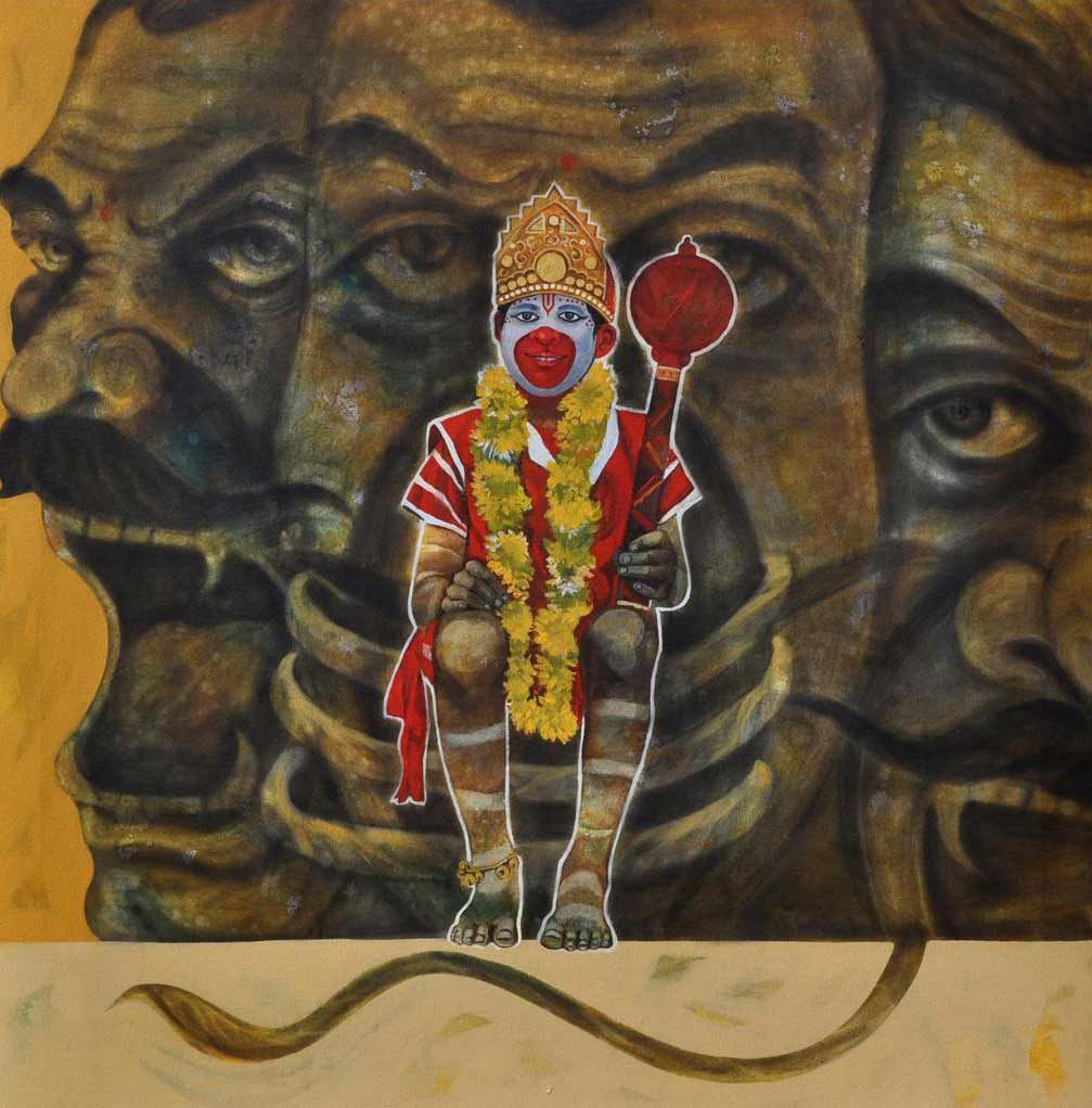 "Conceptual Painting with Mixed Media on Canvas ""God AID"" art by Chaitanya Ingle"