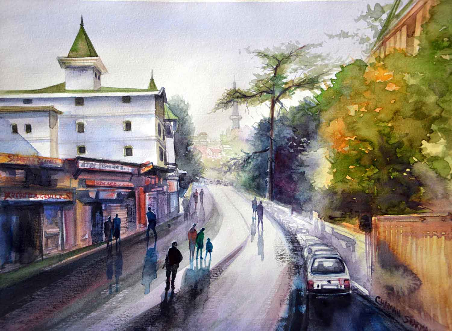 "Semi Realistic Painting with Watercolor on Paper ""The Oberoi Cecil, Shimla"" art by Chaman  Sharma"