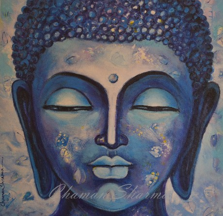 "Contemporary Painting with Acrylic on Canvas ""Lord Buddha-II"" art by Chaman  Sharma"