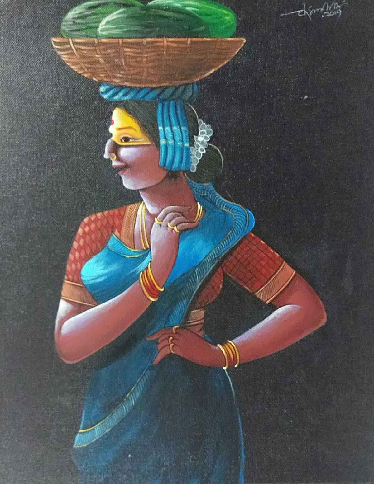 "Figurative Painting with Acrylic on Canvas ""Woman"" art by Chinnaa  Sreepathi"