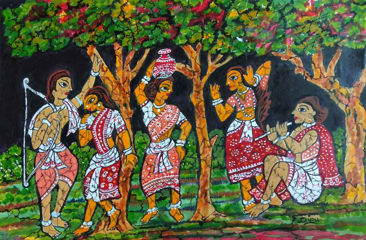 "Folk Painting with Acrylic on Paper ""Untitled"" art by Deepak Bhattacharjee"