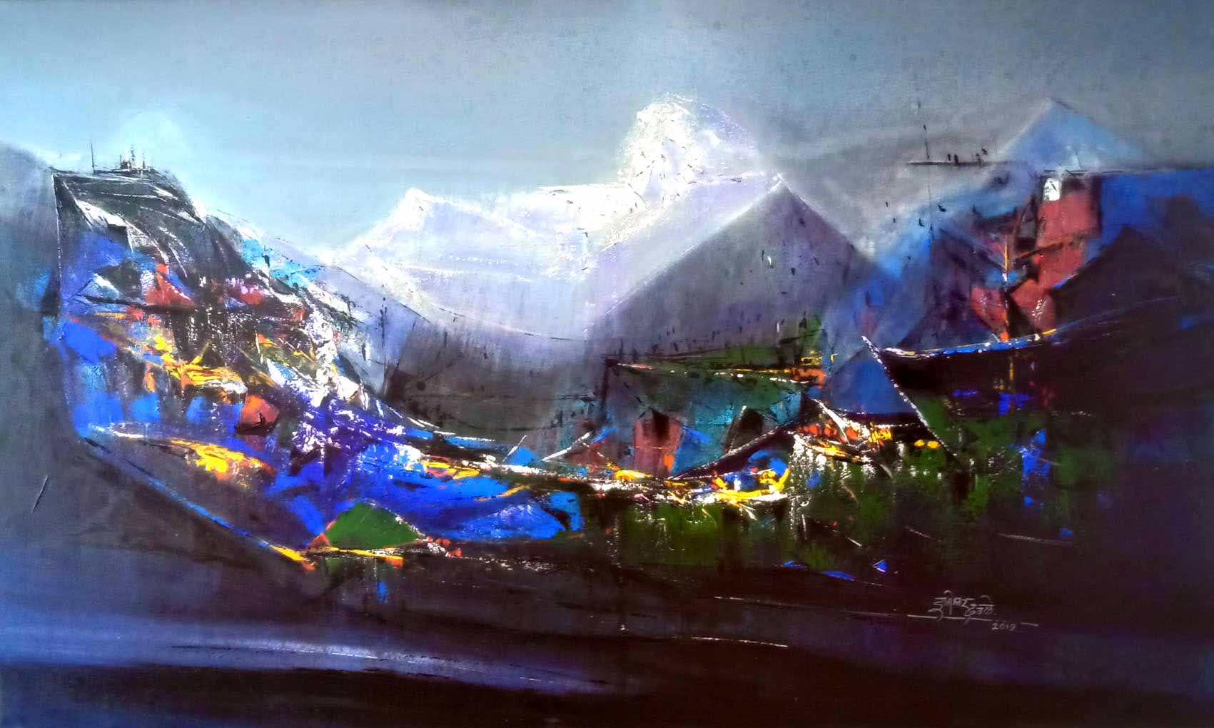 "Semi Abstract Painting with Acrylic on Canvas ""Dream Village 2"" art by Dnyaneshwar Dhavale"