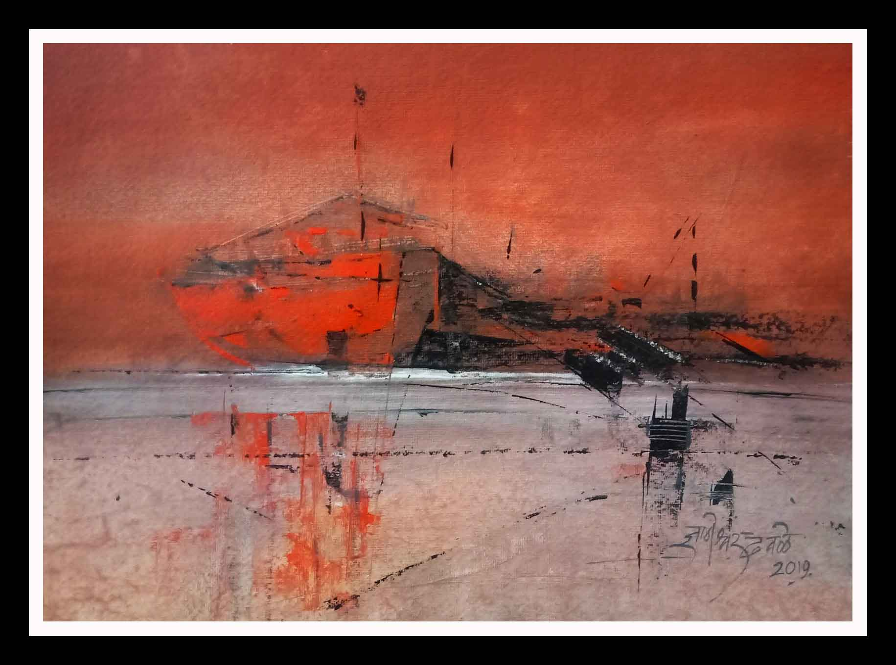 "Abstract Painting with Acrylic on Paper ""Ship"" art by Dnyaneshwar Dhavale"