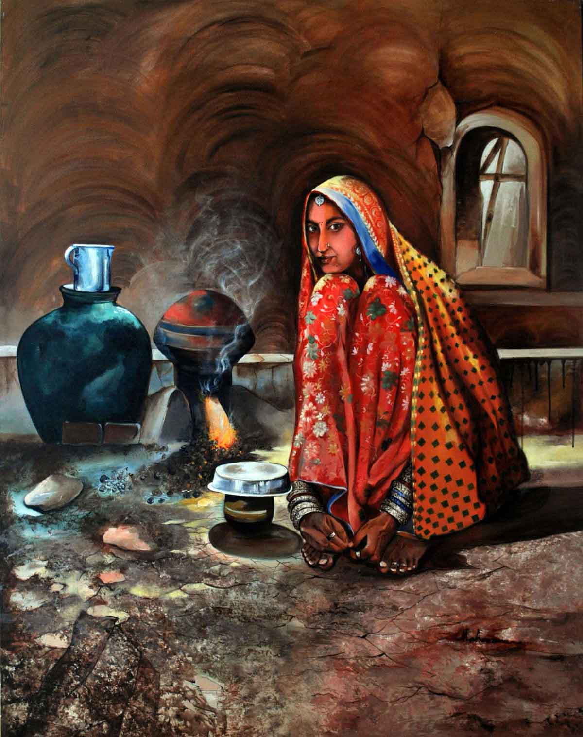 "Realism Painting with Acrylic on Canvas ""Village Life"" art by Ganga Maharana"