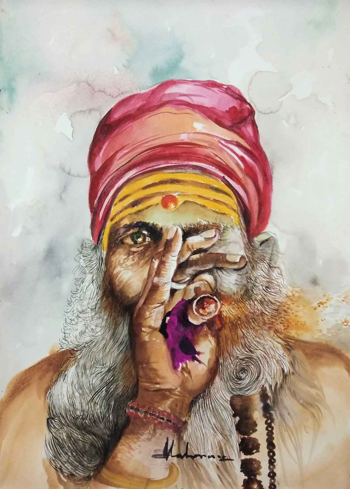 "Semi Realistic Painting with Watercolor on Hand made paper ""Untitled"" art by Ganga Maharana"