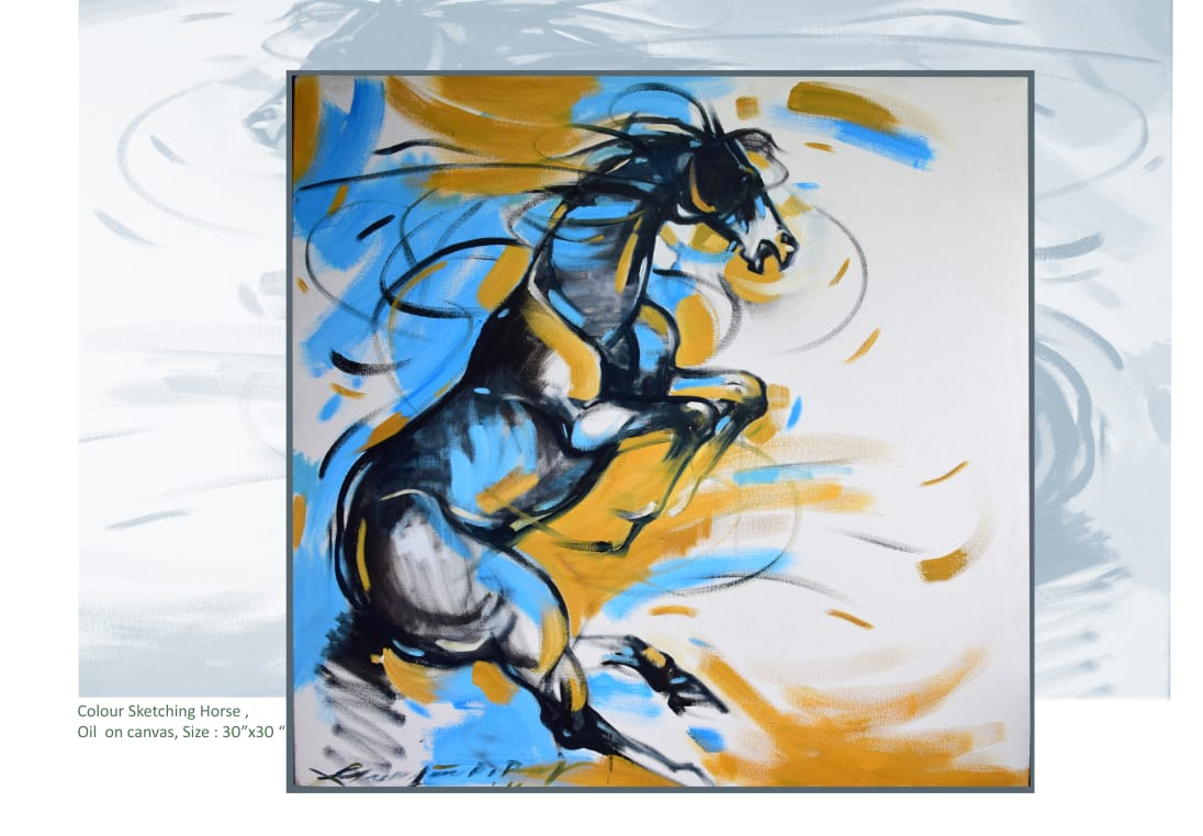 Buy Horse 1 Painting With Oil On Canvas By Gautam Partho Roy Indigalleria