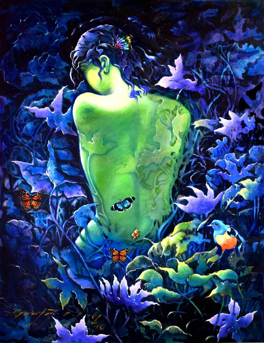 "Semi Realistic Painting with Oil on Canvas ""Moonlight Leaves"" art by Gautam Partho Roy"