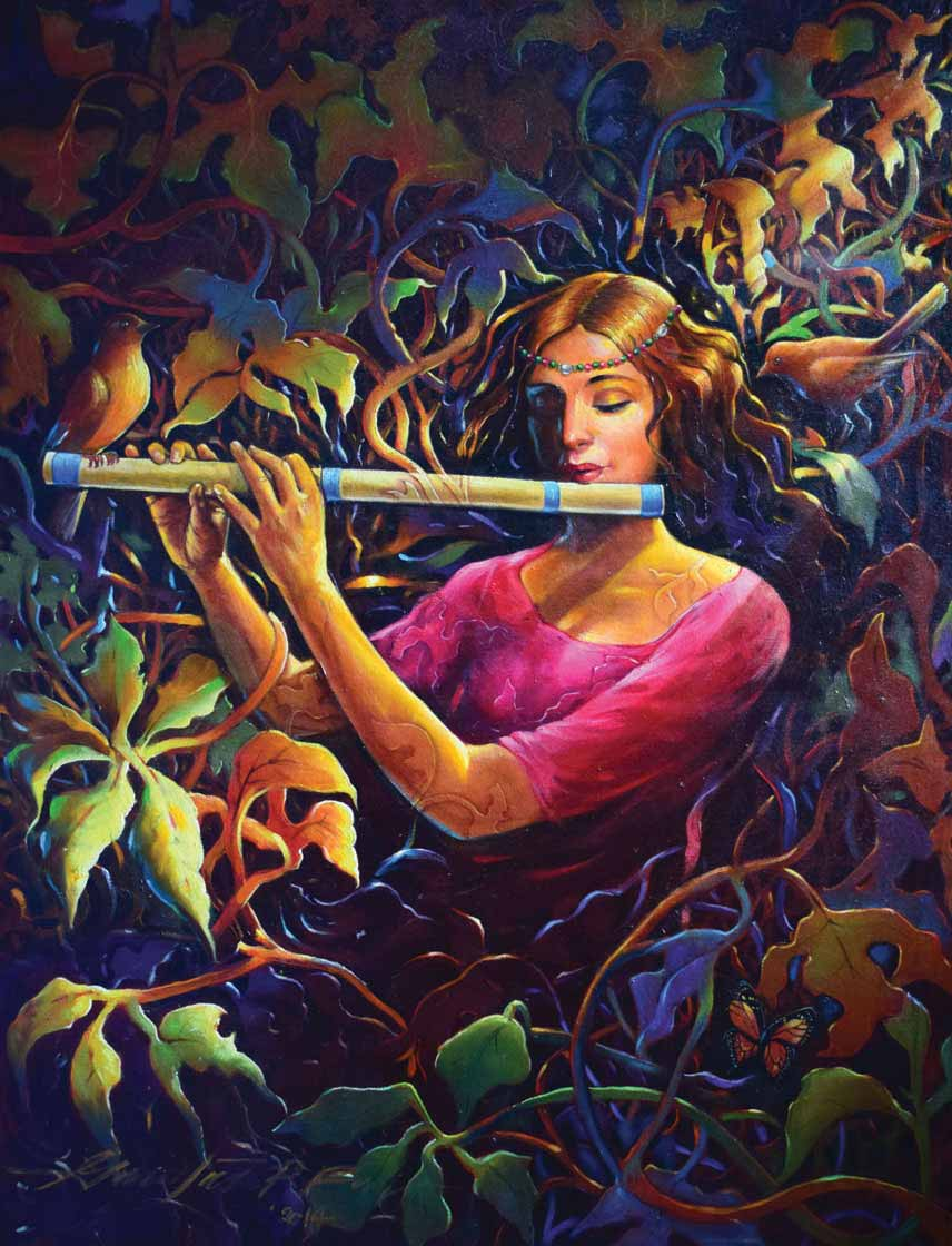 "Figurative Painting with Oil on Canvas ""Leaves"" art by Gautam Partho Roy"