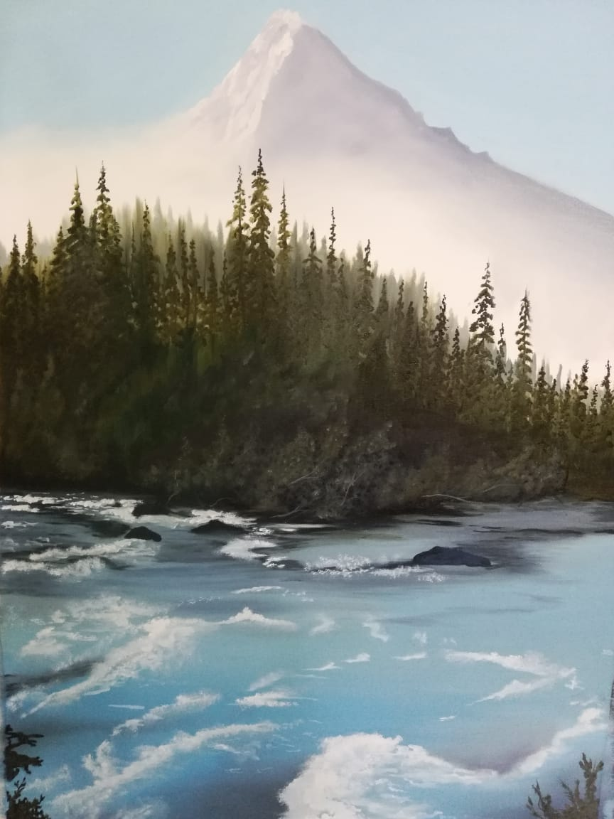 "Semi Realistic Painting with Oil on Canvas ""Landscape 1"" art by Gehna Goyal"