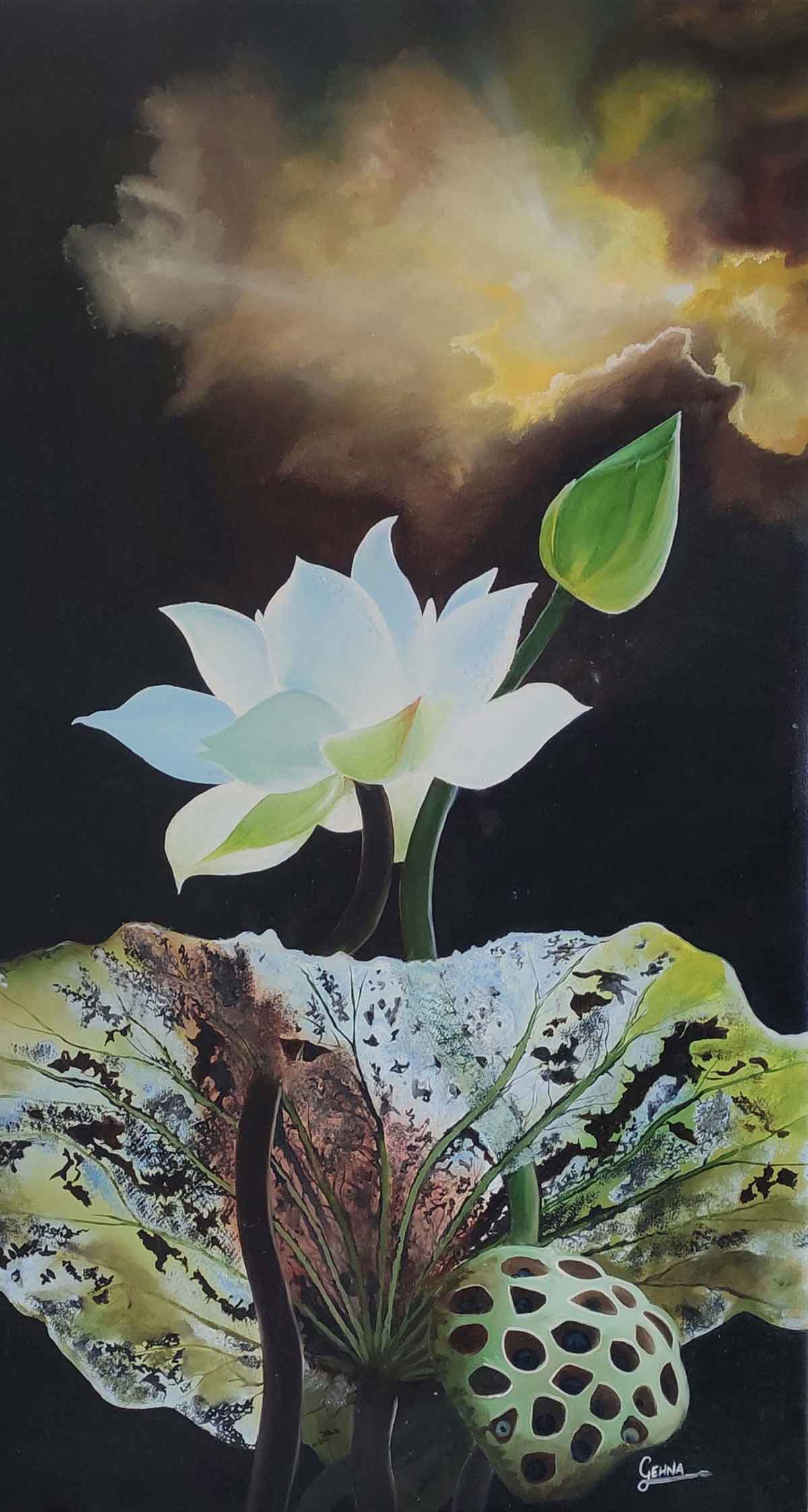 "Semi Realistic Painting with Oil on Canvas ""Flower 1"" art by Gehna Goyal"