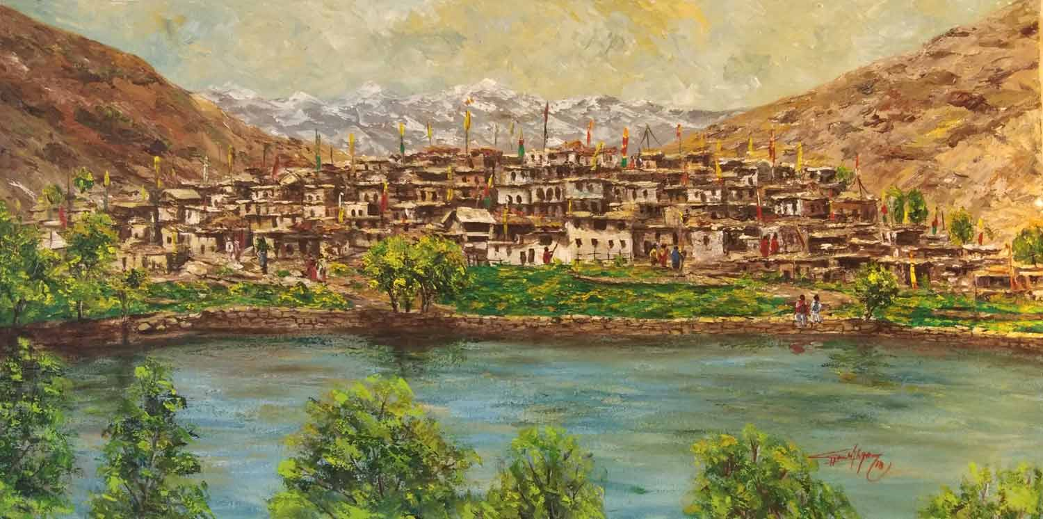 "Realism Painting with Acrylic on Canvas ""Nako Lake - Himachal Pradesh"" art by Ghanshyam Kashyap"