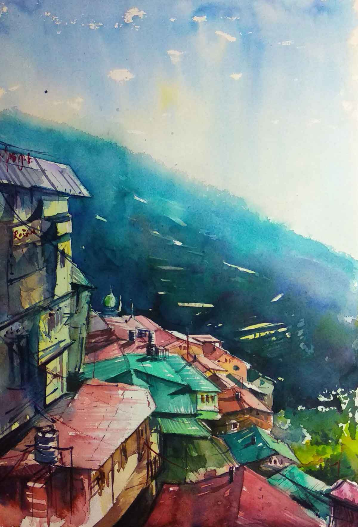 "Semi Realistic Painting with Watercolor on Paper ""Lower Bazar Shimla"" art by Puran Thapa"
