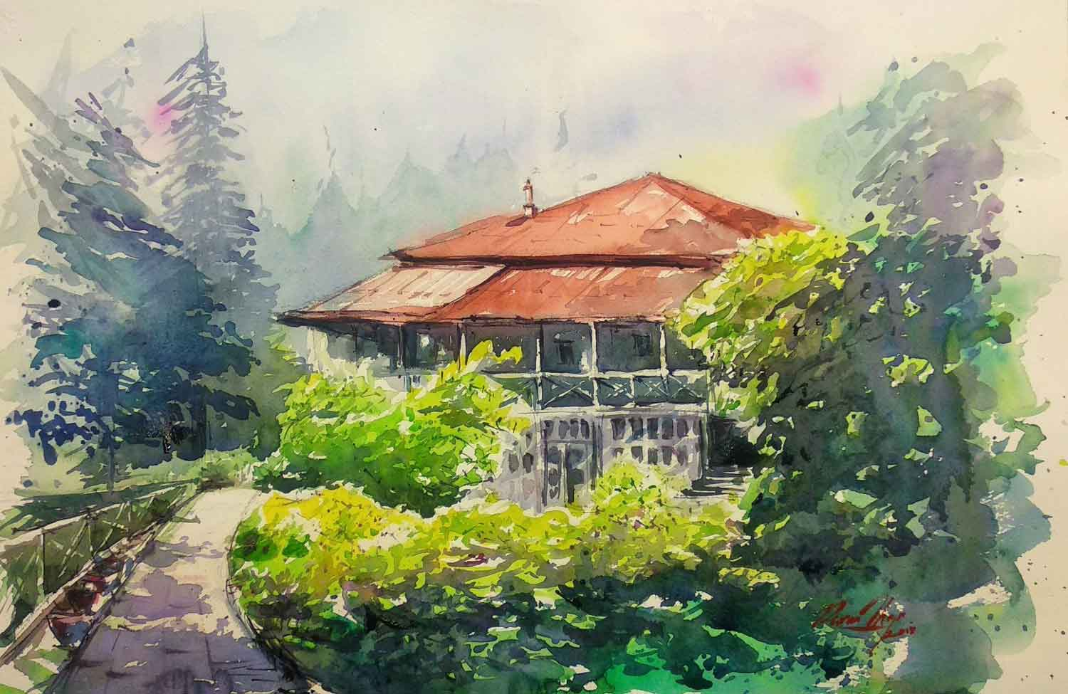 "Semi Realistic Painting with Watercolor on Paper ""Roerich House Naggar"" art by Puran Thapa"
